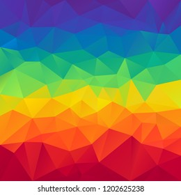 vector abstract irregular polygonal square background - triangle low poly pattern - full color spectrum horizontal striped rainbow - red, orange, yellow, green, blue and purple