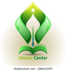 Vector abstract, Islamic learning center symbol.