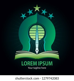 Vector abstract, islamic learning center for education or foundation symbol