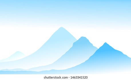 Vector abstract landscape of blue vibrant mountain peaks and blue midday sky. Peaceful tranquil hand drawn nature background for relaxation, meditation and restoration. Easy editable layered picture.