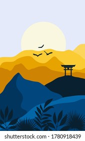 Vector Abstract landscape  illustration, Minimalist style, Abstract image of a sunset or dawn sun over the mountains, gate, birds,  plants.