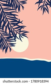 Vector Abstract landscape set,  banner set with polygonal landscape illustration, Minimalist style, Abstract image of a sunset or dawn sun over the ocean, and palm leafs.