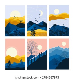 Vector Abstract landscape set,  banner set with polygonal landscape illustration, Minimalist style, Abstract image of a sunset or dawn sun over the mountains,  plant, trees, birds, dessert.