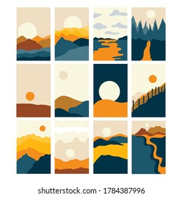 Vector Abstract landscape set,  banner set with polygonal landscape illustration, Minimalist style, Abstract image of a sunset or dawn sun over the mountains, river, desert, lake, forest