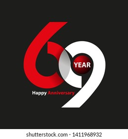 Vector abstract, letter 69 symbol for happy anniversary icon or logo event.