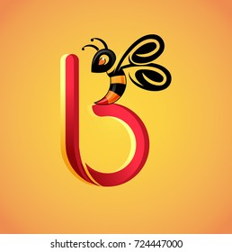 Vector abstract, letter B for beehive or honeybee