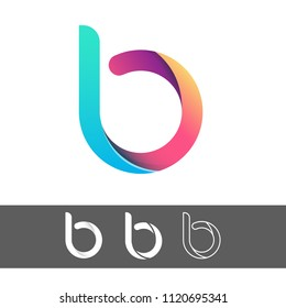 Vector abstract letter B logo design template element with origami paper style, flat, line art, vector sign