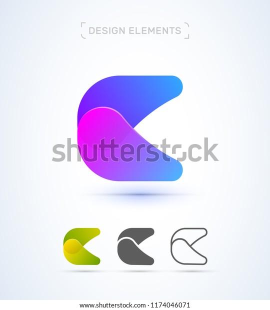 Vector Abstract Letter C Logo Design Stock Vector Royalty