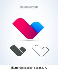 Vector abstract letter check icon design. Corporate identity sign collection. Application icon. Fashion illustration set