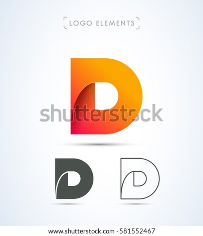 abstract letter d logo design template stock