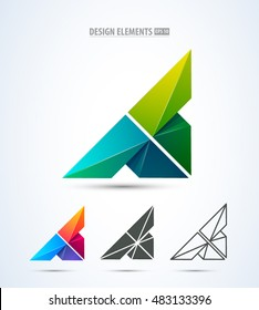 Vector abstract letter A design logo elements. Corporate identity design elements set.  Logo elements set.