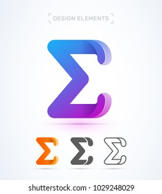 Vector abstract Letter E logo template. Sigma sign icon. Material design, flat and line art style. Origami paper
