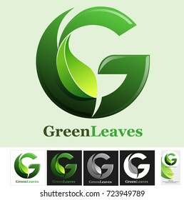 Vector abstract, Letter G for Green leaves symbol