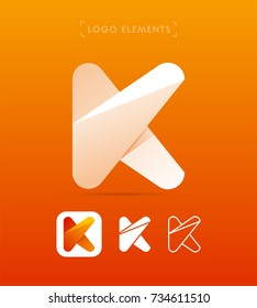 Vector abstract letter K logo template. Material design and flat origami paper style icon