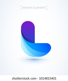 Vector abstract letter L logo template. Flat material design with 3d elements
