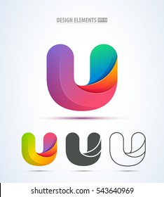 Vector abstract letter U logo design collection. Origami paper style.