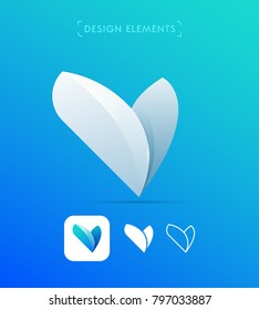 Vector abstract letter V logo template in origami paper, eco vegetarian style. Leaves icon. Flat and line art