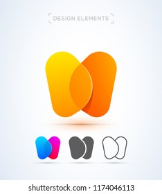 Vector abstract letter W, M, X, H logo design elements. Material design, transparent, origami, flat and line art style collection