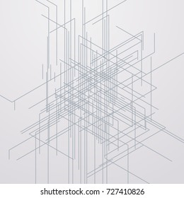 Vector abstract linear background. Modern technology sketch illustration of line pattern. Geometric vector illustration. Engineering concept. Isometric perspective