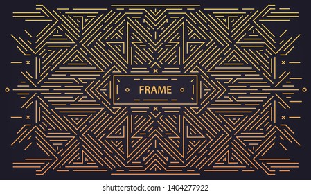 Vector abstract linear geometric background, retro frame, design template. Decorative border for greeting card, packaging, invitation in ornamental style, luxury vintage