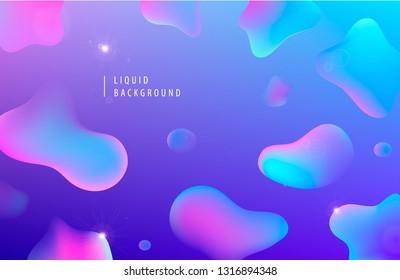Vector abstract liquid flow background. Fluid gradient 3d shapes composition. Futuristic design poster, landing page, illustration. Blue, purple, pink poster