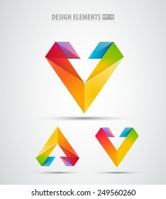Vector abstract logo corporate icon design set. Isolated on white. Abstract letter v icon