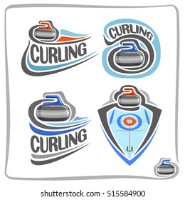 Vector abstract logo Curling Stone on blue ice rink with circles target, decoration sign sport club, simple line red granite stone sliding in goal, isolated icon on white, flat design curling blazon.