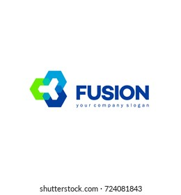 Vector abstract logo design for business. Fusion sign