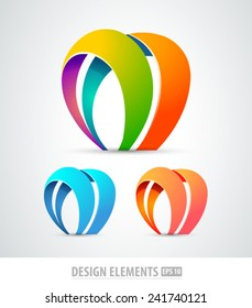 Vector abstract logo design elements. Origami. Corporate identity. M letter