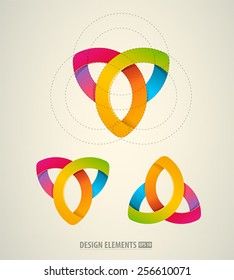 Vector abstract logo design elements. Colorful icons. Cosmetics emblem