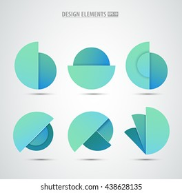Vector abstract logo design elements. Colorful icons. Bubbles set. Application icon design set. Material design elements.