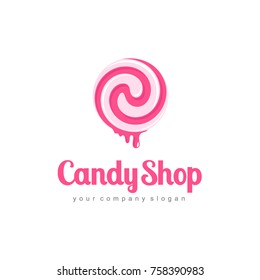 Vector abstract logo design for sweets, candy shop.