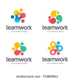 Vector abstract logo design. Teamwork, alliance.