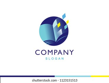 Vector abstract logo design template - online education and learning concept - book icon and pixels - emblem for courses, classes and schools