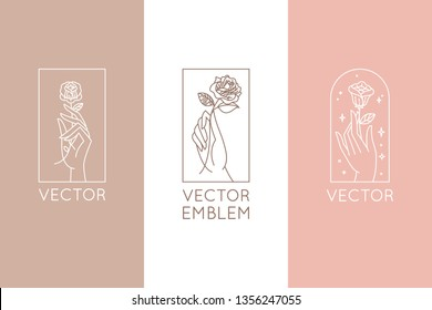 Vector abstract logo design template in trendy linear minimal style - hands with rose and stars - symbol for cosmetics, jewellery, beauty products