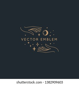 Vector abstract logo design template in trendy linear minimal style - hands with moon and stars - symbol for cosmetics, jewellery, beauty and handmade products, tattoo studios and services