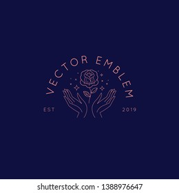 Vector abstract logo design template in trendy linear minimal style - hands with rose - symbol for cosmetics, jewellery, beauty and handmade products, tattoo studios and services