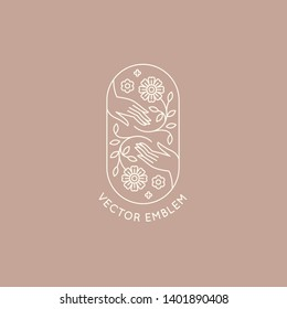 Vector abstract logo design template in trendy linear minimal style - hands with flowers and leaves- symbol for cosmetics, jewellery, beauty products