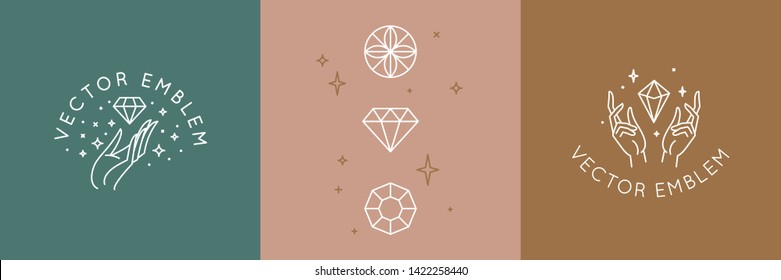 Vector abstract logo design template in trendy linear minimal style - hands and diamond - abstract symbol for cosmetics and packaging, jewellery, hand crafted  or beauty products