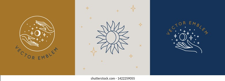 Vector abstract logo design template in trendy linear minimal style - hands, moon and stars - abstract symbol for cosmetics and packaging, jewellery, hand crafted  or beauty products
