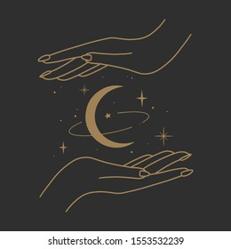 Vector abstract logo design template in trendy linear minimal style - hands and stars - abstract symbol for cosmetics and packaging, jewelry, hand crafted or beauty products