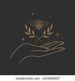 Vector abstract logo design template in trendy linear minimal style - hands and bee- abstract symbol for cosmetics and packaging, jewelry, hand crafted or beauty products
