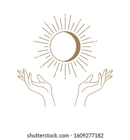 Vector abstract logo design template in trendy linear minimal style - hands , moon and sun - abstract symbol for cosmetics and packaging, jewelry, hand crafted or beauty products