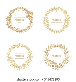 Vector abstract logo design template with copy space for text in trendy linear style - set of floral wreaths and borders for packaging, cosmetics, invitations and banners