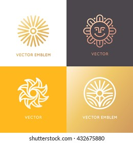 Vector abstract logo design template in trendy linear style - sun and summer symbol