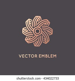 Vector abstract logo design template in trendy linear style and golden colors -  sun and summer holidays symbol, travel agency concept