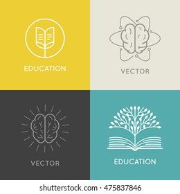 Vector abstract logo design template - online education and learning concept - book emblem and brain icons for courses, classes and schools