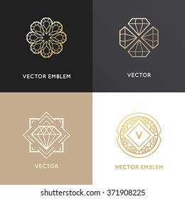 Vector abstract logo design templates in golden colors on dark and white backgrounds - jewelry concepts and badges with diamonds