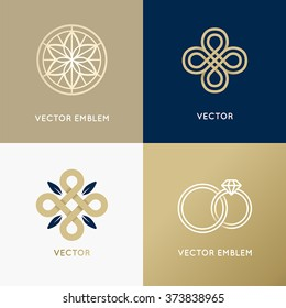 Vector abstract logo design templates in trendy minimal style for luxury and exclusive products and services - jewelry concept and badges