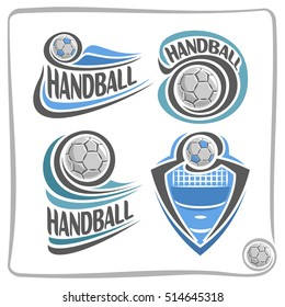 Vector abstract logo Handball Ball, decoration sign sports club, simple ball flying on blue court floor above net, set isolated sporting cup equipment icon, flat design concept handball school blazon.